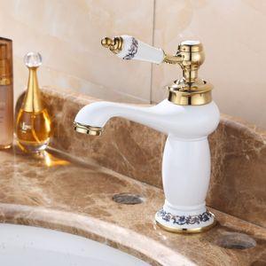 Single Handle Mixer Tap Cobre Latão Latina torneira de alta qualidade Bacia Cerâmica branca torneira de Ouro Finish Banheiro torneiras misturadoras
