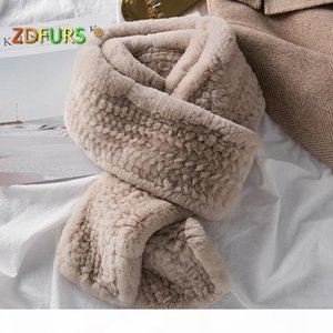 ZDFURS* Women's Real Fur Scarf High Quality Luxury Big Long Natural Rex Fur Scarves Thick Warm Winter Fashion Brand New