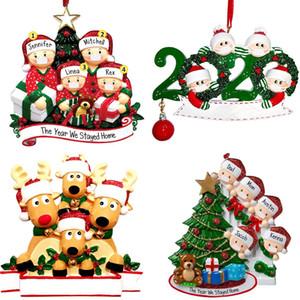 2020 Máscara Quarentena enfeites Xmas presente das árvores de rena personalizado sobrevivente família do Hang Detalhes no boneco de neve Pendant Com Face