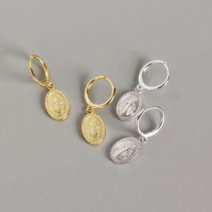 Women 925 Sterling Silver Geometric Virgin Mary Oval Coin Medal Charm Christian Prayer Jesus Earrings Golden Huggie Circle Hoops