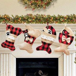 Creative Christmas Stocking Gift Bag Christmas Tree Ornament for Kids Candy Bag Xmas Prop Socks Christmas Decoration WB2691