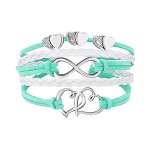 Infinity Doppel-Herz-Armband-Webart-Leder-Verpackungs-Armband-Mehrschicht Frauen Armbänder Modeschmuck wird und Sand Geschenk