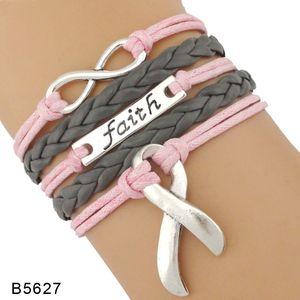 Love Faith Believe Hope Ribbon Pray for Breast Cancer Sucks Awareness Fighter Survivor Pink Leather Wrap Bracelets for Women