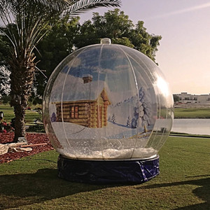 Быстрая доставка Надувной Snow Globe На Рождество 3м Надувной Human Snow Globe Photo Booth Christmas Yard Snow Globe Fan С