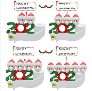2020 superviviente de la familia personalizada Decoración de Navidad Kit creativo regalos de Año Nuevo ornamento para niños Familia con mascarilla de Navidad Mano Sanitized