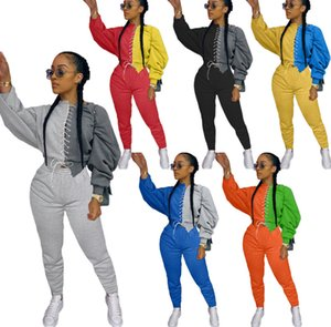 Kadınlar İki Adet Pantolon Seti Moda Eşofman Uzun Kollu Dikiş Kontrast En Pantolon Kıyafetler Bayanlar Moda Günlük Artı boyutu Giyim 889