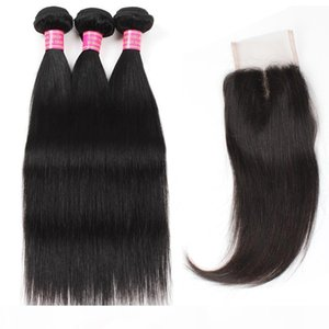 Wholesale Good Cheap 8A Mink Brazilian Peruvian Malaysian Virgin Straight Hair 3 Bundles With 4*4 Lace Closure Free Middle Three Part