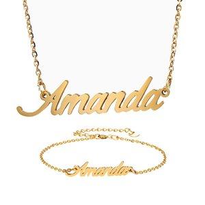 "Fashion Stainless Steel Name Necklace + Bracelet Set for Women "" Amanda "" Script Letter Gold Choker Chain Necklace Pendant Nameplate Gift"