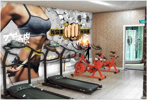 WDBH 3d wallpaper custom photo Breaking wall sports gym fitness club tooling living room home decor 3d wall murals wallpaper for walls 3 d
