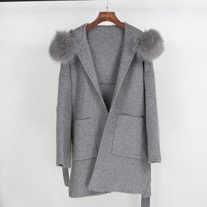 OFTBUY 2020 Manteau de fourrure réel Veste d'hiver Loose Women naturel col de fourrure Cachemire Laine vêtement Streetwear Oversize