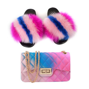 New Summer Women's Real Fur Slides Home Furry Jelly Purses Sets Ladies Outside Furry Slippers PVC Multi-colors Bags Wholesal