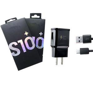 Chargeur mural pour Samsung S10 Note 10 Adaptateur Voyage 2 en 1 Chargeur rapide avec 1M USB C Câble avec Retail Box