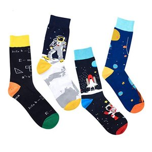Casual Space Mathematics Printed Sports Socks Colorful Crew Cotton Spandex Hosiery Footwear