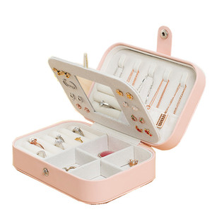 Korean Style Hot Selling 2 Layers Leather Jewelry Box With Mirror Necklace Hook Fashion Design Jewelry Casket T200917