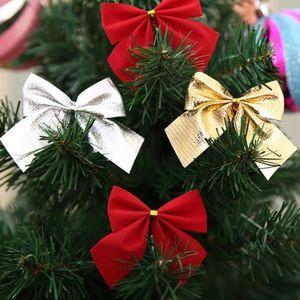 1lot 12pcs Mini Gift Box Drum Bow tie Christmas Tree Pendant Home Decor New Year Hanging Gift Ornaments Xmas Decoration Oct16