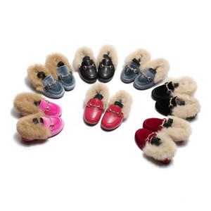 Heiße Verkaufs-Jungen Velvet Loafer New Winter warm Kinder Pelz Größe 21-35 Wohnung Princess Mädchen Schuhe Kinder Weihnachtsgeschenk