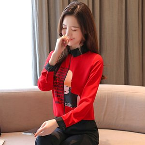New chic women Blouse chiffon shirts Office Lady 2020 Spring Blouses women letter girl printing long sleeve tops Blusas Mujer