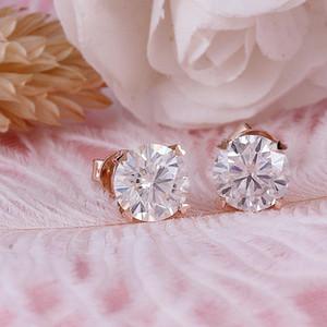 Transgems 14K 585 or rose 2CTW de FGH couleur claire coeur et Flèches Moissanite Boucles d'oreilles Repousser pour Femmes Coffret Cadeau