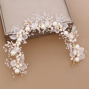 ACRDDK Handmade Bridal цветок искусственный жемчуг кристалл листья Свадебные оголовье Женщины Hairband Дети Аксессуары для волос SL