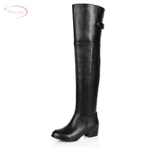 Chainingyee handmade quality custom sexy charm contracted genuine leather knee high boots zippers rivet women's riding boots
