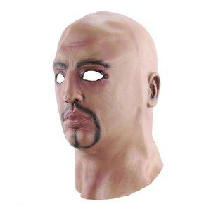 Puntelli di Halloween Costumi Cosplay realistici a capo scoperto uomo Masquerade Mask Lifelike divertente forniture da parte T200116 creativi IRAFS