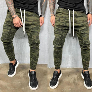 New Style adolescentes Vestuário Homens Designer Jeans Camouflage Pockets Mens Calças Lápis Causal