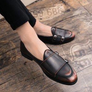 Los hombres de los holgazanes para hombre de los zapatos de cuero de partido ocasional Pisos Slip-ons cerrojo resistentes Sole Mans calzado cómodo vestido antideslizante