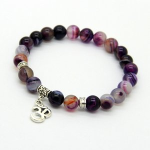 New Arrival Jewelry Sets 8mm Beaded Natural Purple Agate Stone Beads OM, Hamsa Yoga Braclets, Best Gift for men and women