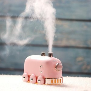 300ml Mini train Air Humidifier Aromathérapie Railway Engine Diffuseur Led Night Light pour voiture Accueil Mist Maker Locomotive Refresher Atomiseur