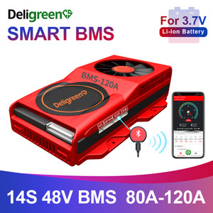 18650 smart BMS 14S 48V 80A 100A 120A Bluetooth 485 to USB device NTC UART software togther Lion LiFepo4 Battery BMS With Fan