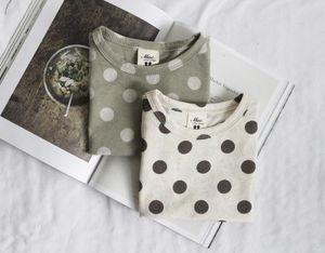 Quality INS Kids Little Girls Boys Tees Short Sleeve Polka Dot T-shirt Summer Fashion Pure Cotton Girls Tops 1-8 Years