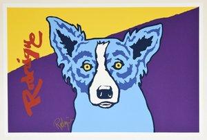 George Blue Dog Rodrigue Museu Edição Decoração pintado à mão HD impressão pintura a óleo sobre tela Wall Art Canvas Pictures 200909