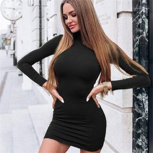 Color Long Sleeve Turtle Neck Sexy Ladies Dresses Fashion Female Apparel Designer Womens Bodycon Dresses Solid