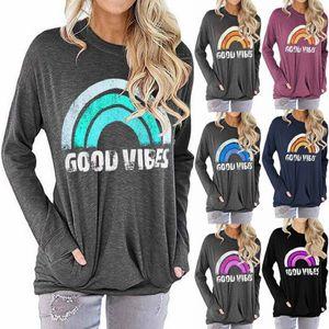 2020 Autumn Women's Hoodies & Sweatshirts Plus size Rainbow sweater GOOD VIBES letter printing loose round neck long sleeve t-shirt