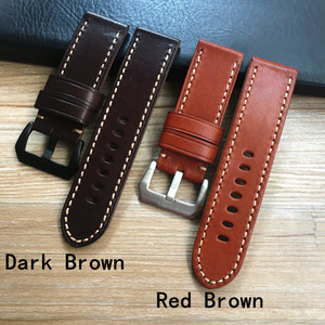 High Quality 24mm 26mm Italy Genuine Leather Brown Watchband Wristband For PAM44mm 47mm Case Watch Strap