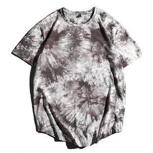 E-Baihui 2020 Summer New European and American Men's T-shirt, Tie-dye High Street Round Neck Pullover Tie-dye Short Sleeves ZT75
