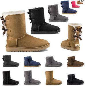 nouvelle qualité de mode classique designer femmes bottes de neige vente chaude châtaigne mini cheville courte noeud de fourrure botte chaussons femmes chaussures d'hiver 36-41