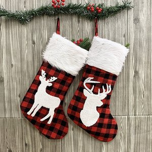 Botique-2 Pcs Christmas Stockings Set Large Plaid Holders with Reindeer Gift Bag for Family Holiday Xmas Party Decorations