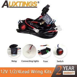Auxting 자동차 LED 라이트 바 와이어 1 ~ 4lead 자동 운전 오프로드 주도 작동 램프를위한 3M 12V 배선 하네스 릴레이 베틀 케이블 키트 퓨즈