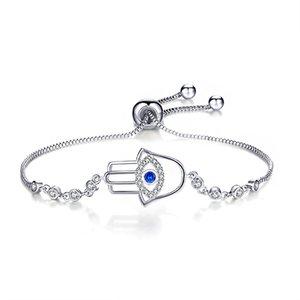 jinzeyi hot devil's eye jewelry zircon adjustable bracelet for women fashion palm shape white gold color lady's jewelry gift