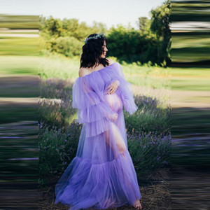 Lavender See Thru Prom Dresses Sexy Sheer Full Sleeves Ruffles Tiered Maternity Dress For Photoshoot Baby Shows Pregnant Party Gowns