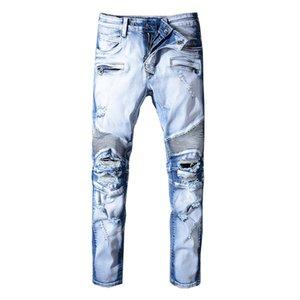 Design Mens Jeans Blue Washed Slim-leg Jeans Motorcycle Biker Fold Denim Retro Slim Ripped Jeans Designer Skinny Hip Hop Pants W29- W42
