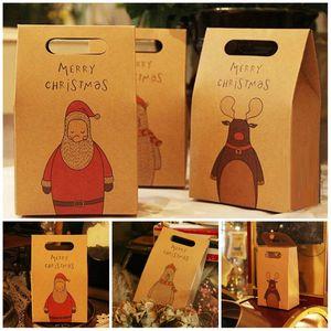 Weinlese-Kraftpapier Weihnachtsgeschenkbeutel Socken und Schals Geschenkkasten-Karikatur Stopfbuchse Weihnachtsabend Geschenk Handtasche T9I00515