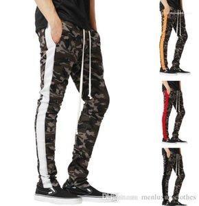 Atlético pantalones casuales para hombre Lápiz de camuflaje deporte del basculador de pantalones del resorte elástico de la cintura de rayas de lápiz