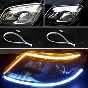 2x автомобиля Ультратонкий 30см 45см 60см полосы света Гибкие светодиодные трубки Стиль Сигнальные лампы Свет Tear Газа Светодиодные автомобилей Декоративные лампы