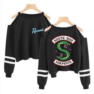 Riverdale Hoodies Sweatshirt Harajuku Off The Shoulder Tops For Women Women Spring Long Sleeve Crop Top Sexy South Side Serpent