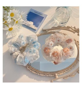 Women Hair Rubber Bands Organza Hair Scrunchies Ropes Flower Embroidery Elastic Hair Ties for Women Ponytail Holder Jewelry Girl Accessories