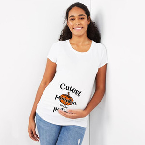Cutest Pumpkin In Th Patch Maternity T-Shirt Tops Pregnant Mama Clothes Women Pregnancy Tee Baby Announcment Tshirt Clothes