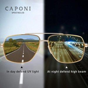 CAPONI gafas de sol de la vendimia Fotocromáticas polarizada Gafas de moda para los hombres Square visión nocturna de conducción Gafas de sol UV400 BSYS8002