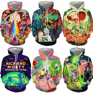 Hombres Buena calidad Nueva Rick y Morty Hoodies de la impresión 3D unisex Streetwear suéter con capucha los hombres / a las mujeres de Halloween